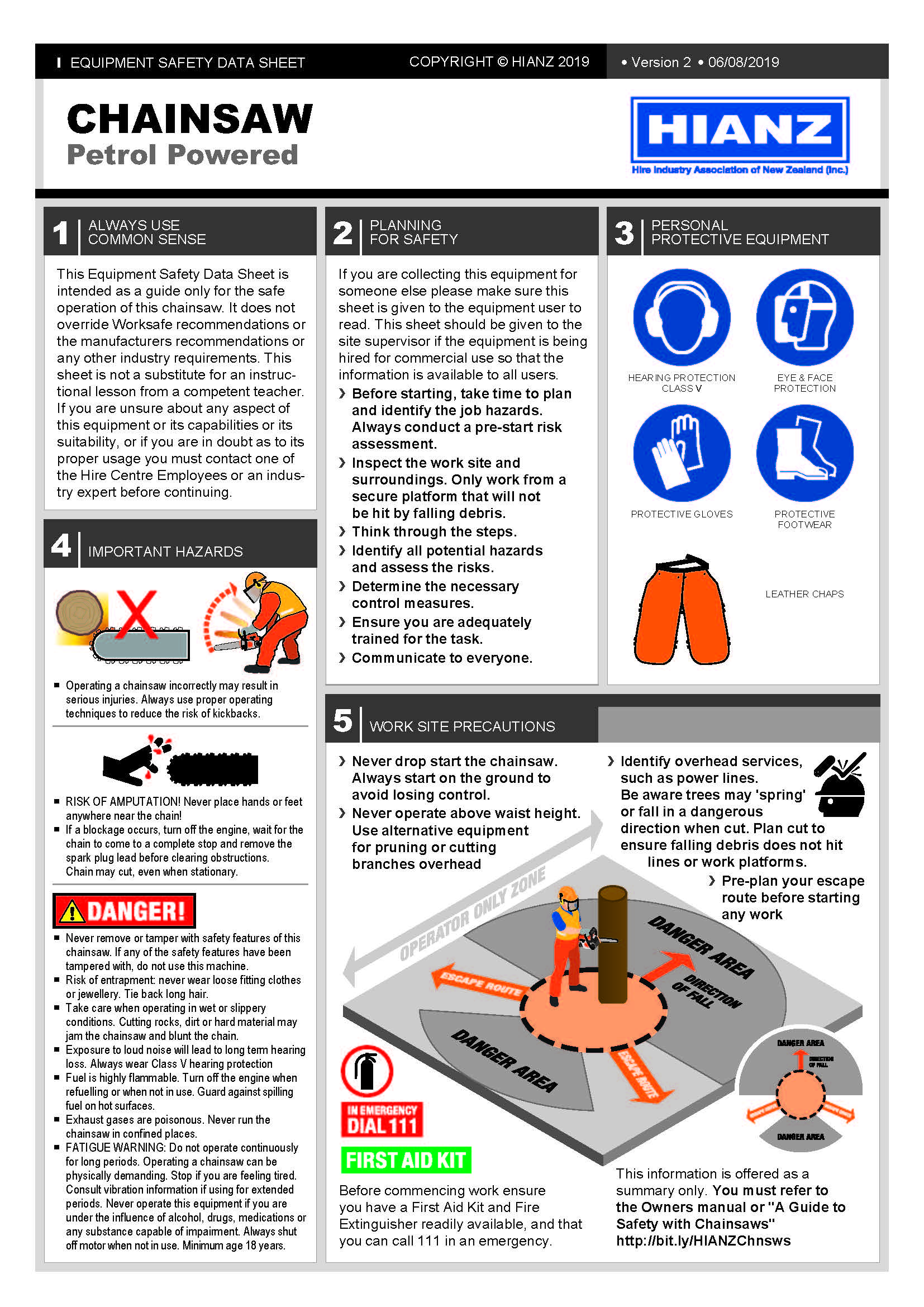 Ultraquip Equipment Safety Data Sheet Chainsaws HIANZ health H&S Hire Rent