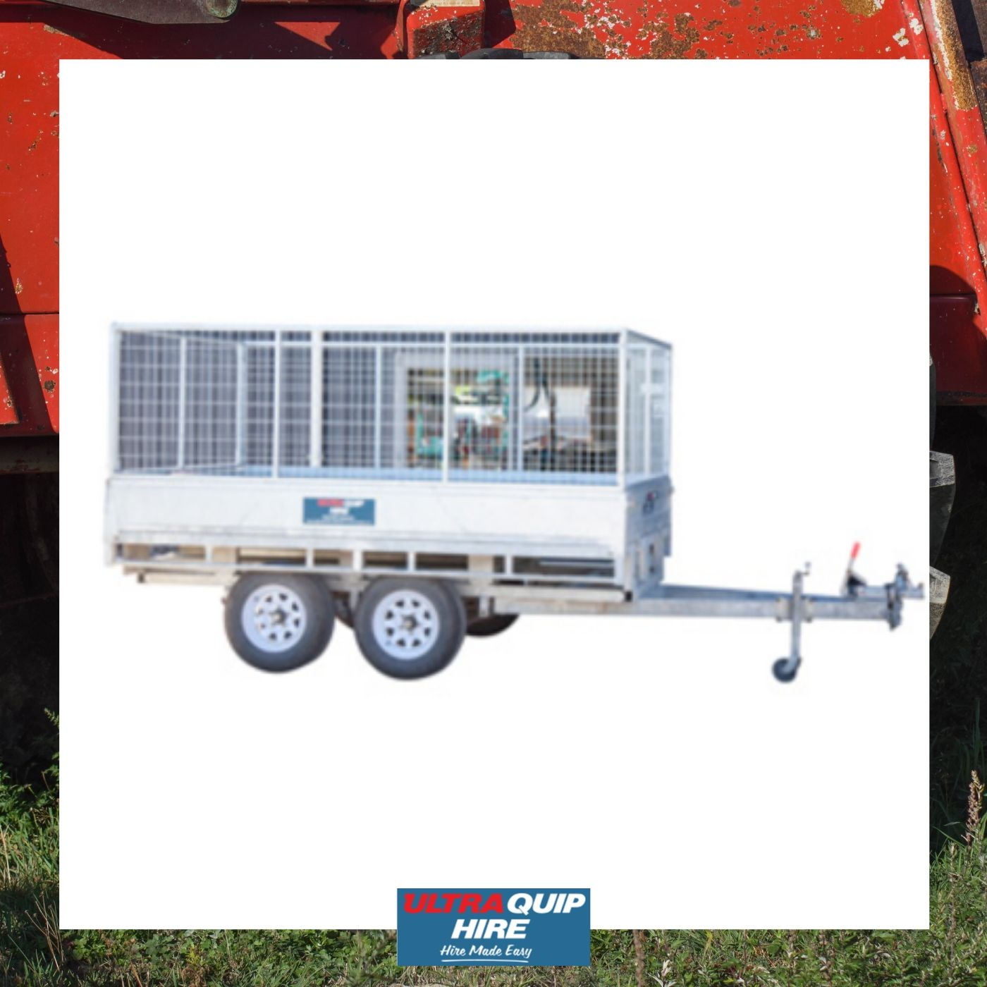 Ultraquip hire trailer single dual triple 2 3 axle caged rent kennards hirepool Hireace